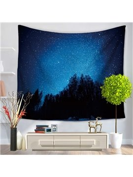 Galaxy Starry Blue Sky and Forest Pattern Decorative Hanging Wall Tapestry