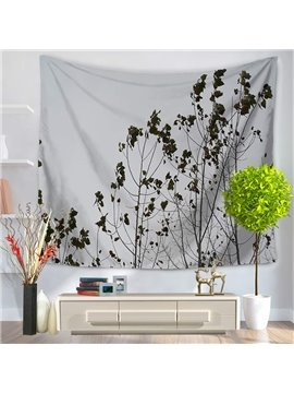 Tree Branches and Leaves Gray Sky Pattern Decorative Hanging Wall Tapestry