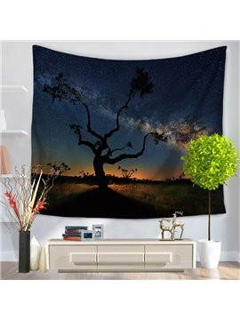 Sole Tree Trunk and Galaxy Starry Sky Decorative Hanging Wall Tapestry