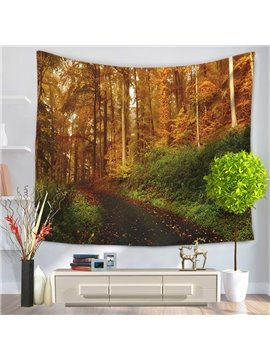 Fall Road and Foliage Nature Yellow Forest Pattern Decorative Hanging Wall Tapestry