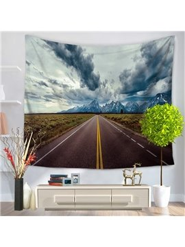 Dark Clouds and Wide Fields with Long Highway Decorative Hanging Wall Tapestry