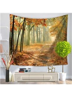 Photography Autumn Alley Landscape Yellow Forest Perspective Decorative Hanging Wall Tapestry