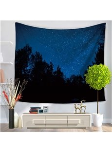 Dark Night Starry Galaxy Sky and Forest Decorative Hanging Wall Tapestry