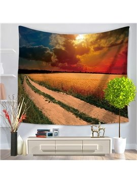 Harvest Festival of Large Field Golden Wheat Pattern Decorative Hanging Wall Tapestry