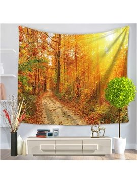 Autumn Yellow Forest Path with Sunset Penetration Decorative Hanging Wall Tapestry