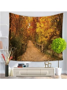 Autumn Yellow Leaves of Garden and Bridge Path Decorative Hanging Wall Tapestry