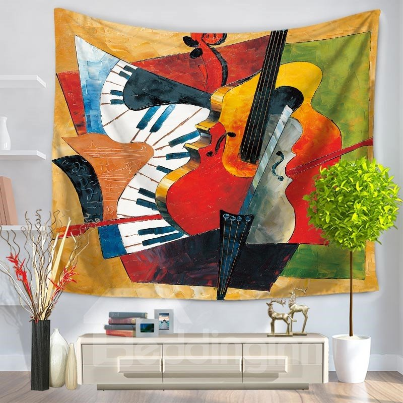 Artful Violin And Piano Pattern Abstract Decorative Hanging Wall Tapestry