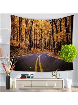 Yellow Autumn Forest and Highway Pattern Decorative Hanging Wall Tapestry