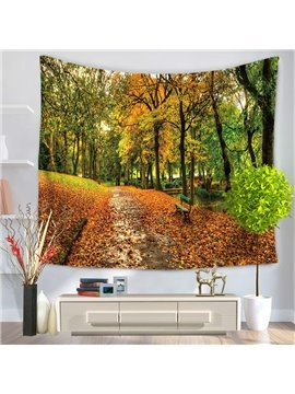 Autumn Forest and Yellow Leaves Covering Path Decorative Hanging Wall Tapestry