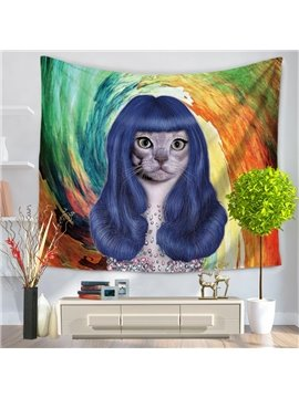 Famous Face Cat with Blue Wig Katy Perry Shape Decorative Hanging Wall Tapestry