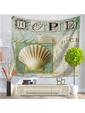 Mediterranean Style Sea Shells with Hope Letters Decorative Hanging Wall Tapestry