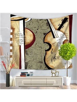 Violin Musical Instruments Vintage Style Decorative Hanging Wall Tapestry
