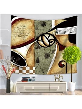 Violin Musical Instruments with Score Vintage Style Decorative Hanging Wall Tapestry