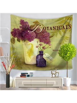Artful Decorative Botanical Purple Flowers Pattern Hanging Wall Tapestry