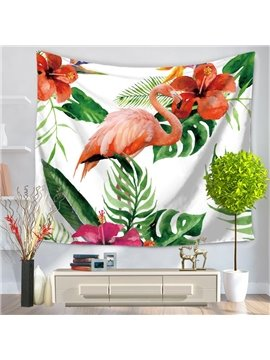 Flamingo Looking Right and Tropical Palm Leaves Foliage Decorative Hanging Wall Tapestry
