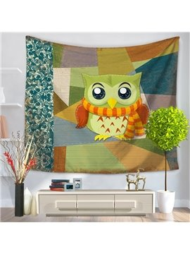 Lovely Cartoon Green Owl with Scarf Pattern Decorative Hanging Wall Tapestry