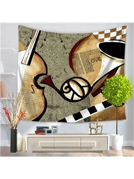 Violin and Trumpet Musical Instruments Vintage Style Decorative Hanging Wall Tapestry