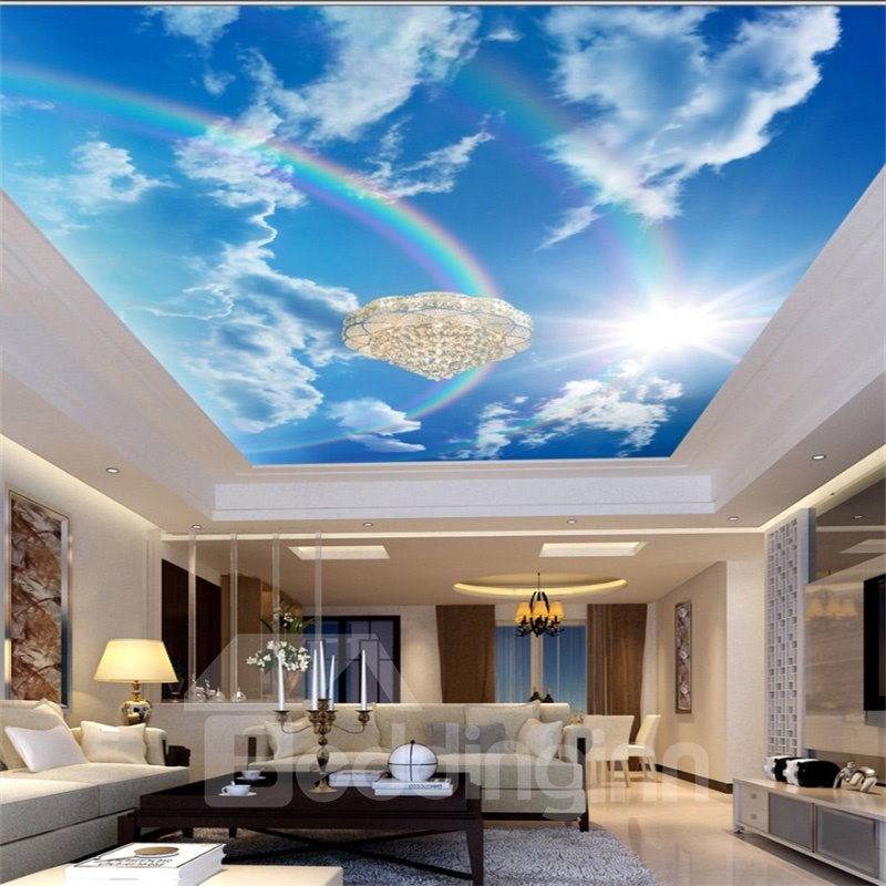 3D Rainbow in Shining Sky Waterproof Durable and Eco-friendly Ceiling Murals