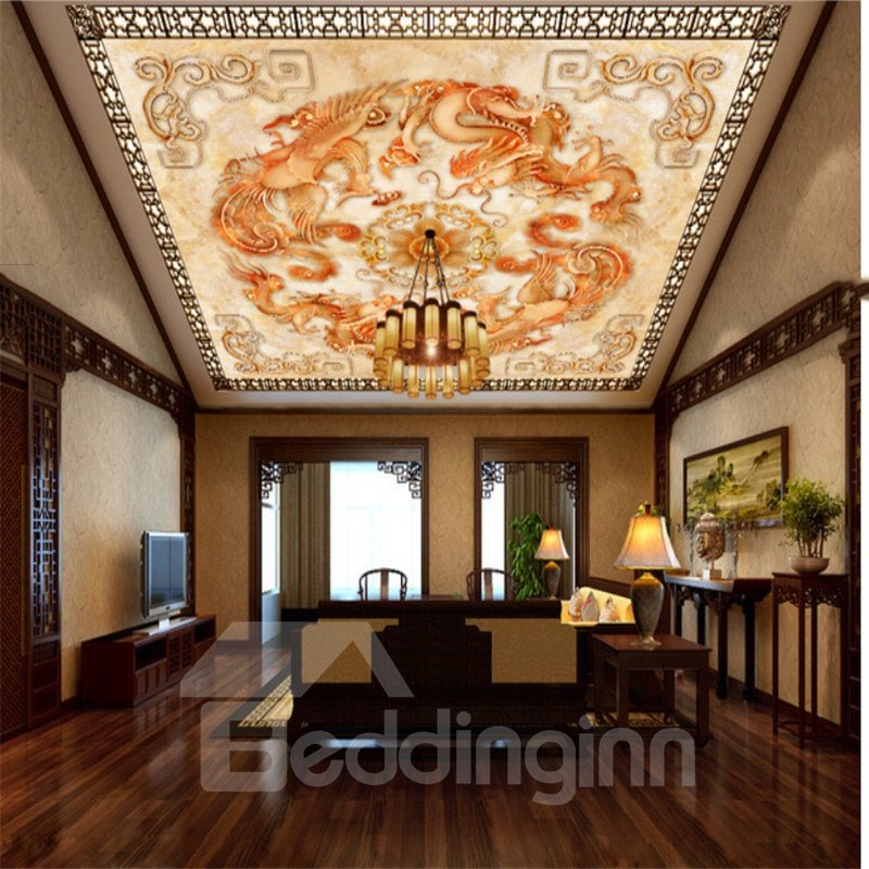 3D Dragons Pattern Waterproof Durable and Eco-friendly Ceiling Murals