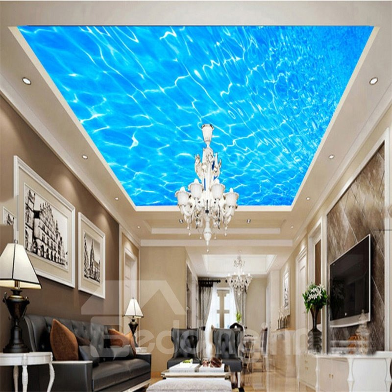 3D Blue Sea Waterproof Durable and Eco-friendly Ceiling Murals
