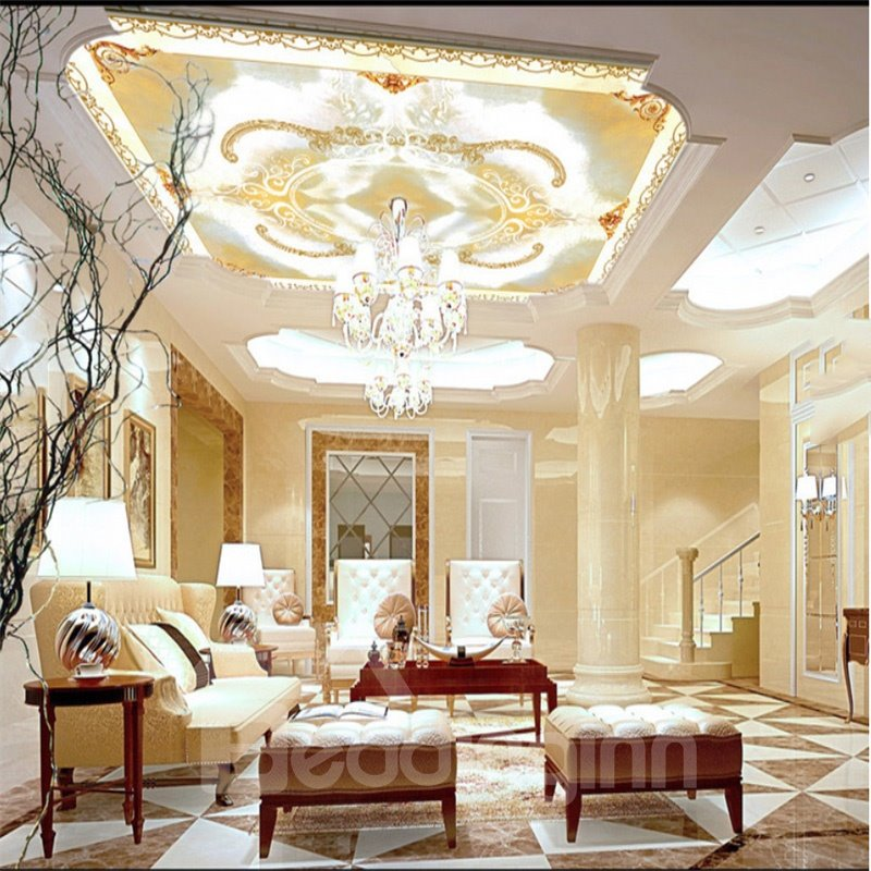 3D Floral Pattern Waterproof Durable and Eco-friendly Ceiling Murals