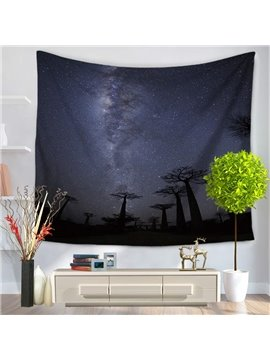 Silent Night Galaxy Starry Space and Tree Silhouette Decorative Hanging Wall Tapestry