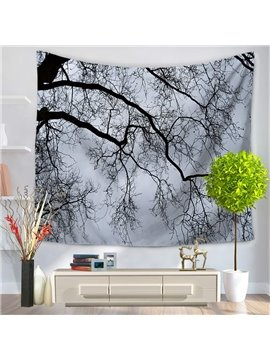 Misty Bald Tree Branches in Winter Decorative Hanging Wall Tapestry