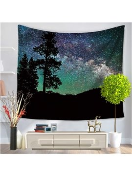 Tree Shadow and Magical Starry Sky Pattern Decorative Hanging Wall Tapestry