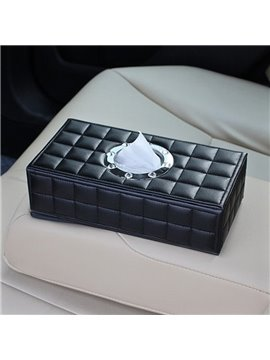 Elegant Classic Grid High-grade Leather Car Tissue Box
