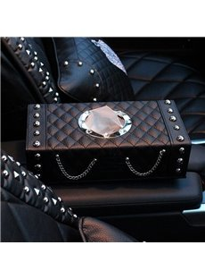 High Quality Leather With Rivet and Metal chain Car Tissue Box