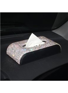 Top Texture And High-grade Pink Rhinestone Car Tissue Box