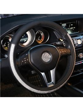 Unusual Elegant Kingly Leather With Rhinestone Steering Wheel Cover