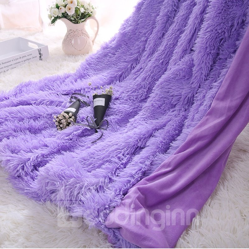 Princess Style Solid Orchid Purple Soft And Fluffy Double
