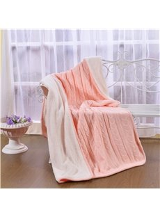 47x71in Solid Pink Super Soft and Reversible Fuzzy Knitted Throw Blankets