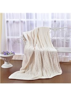 47x71in Solid White Super Soft and Reversible Fuzzy Knitted Throw Blankets