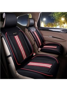 Bright Stripes Knitting Fabric Soft Front Single-seat Universal Car Seat Cover