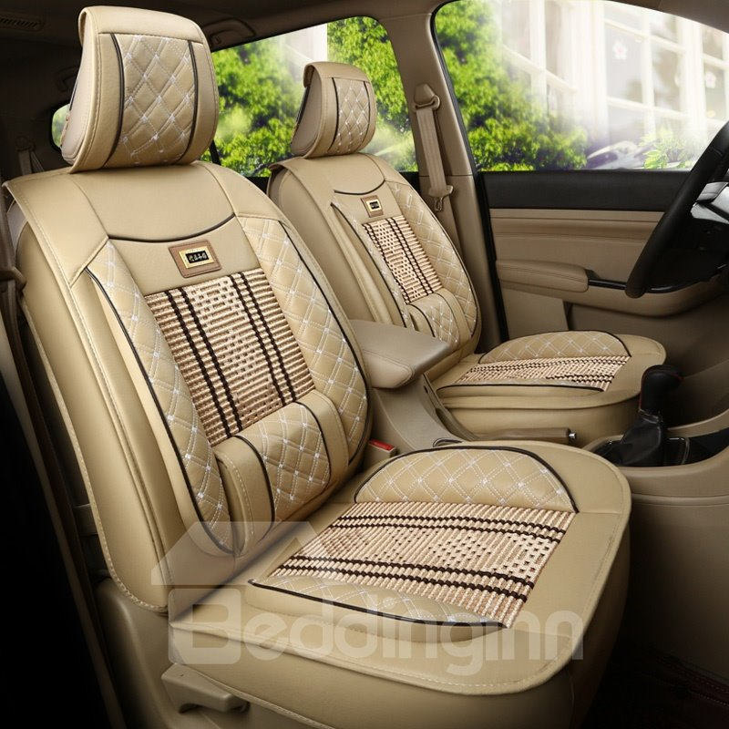 Bohemian Style Leather Knitting Mixed Front Single Seat
