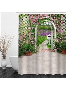 3D Garden 3912 Printed Polyester Waterproof and Eco-friendly Shower Curtain