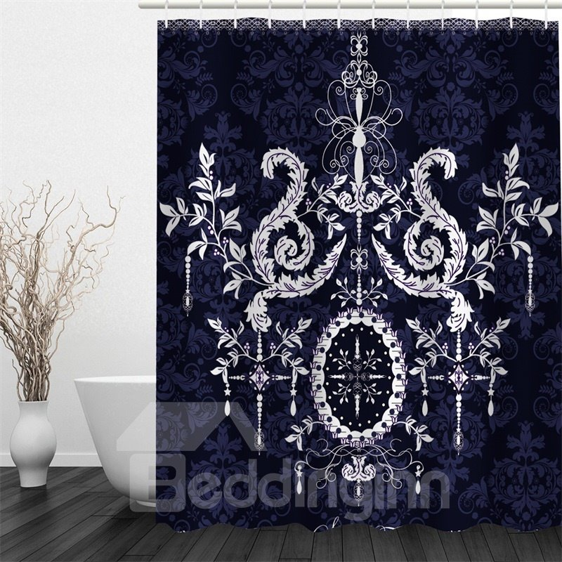 3D White Floral Pattern Polyester Waterproof and Eco-friendly Black Shower Curtain