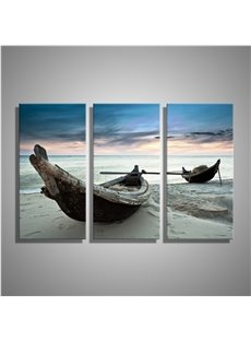 Boats on Beach Printed Hanging 3-Piece Canvas Eco-friendly and Waterproof Non-framed Prints
