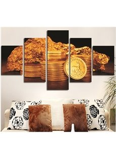 Golden Corns and Stone Hanging 5-Piece Canvas Eco-friendly and Waterproof Non-framed Prints