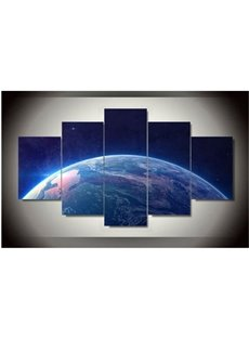 Blue Planet Printed Hanging 5-Piece Canvas Eco-friendly and Waterproof Non-framed Prints
