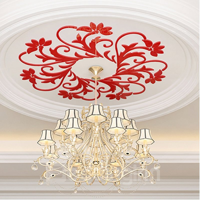 Floral Ceiling Acrylic Wall Stickers Decor for Living Rooms Bedrooms