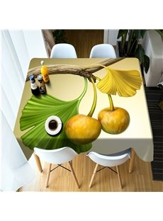 3D Yellow Ginkgo Leaves and Fruits Printed Thick Polyester Durable Table Cover Cloth