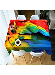 3D Bright Colored and Vivid Animal Feathers Printed Thick Polyester Table Cloth