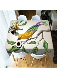 3D Lovely Bird and Branches Printed Home and Hotel Dinning Table Cloth