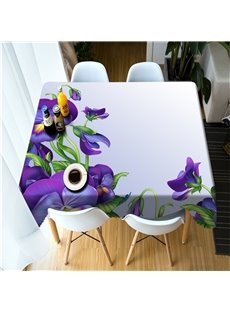 3D Vivid Purple Flowers Printed Pastoral and Modern Dinning Table Cover