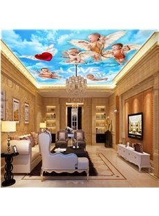 3D Babies with Wings Flying in Sky Waterproof Durable and Eco-friendly Ceiling Murals