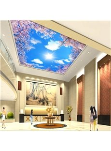 3D Cherry Trees in Blue Sky Waterproof Durable and Eco-friendly Ceiling Murals