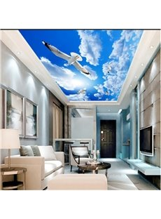 3D Doves in Blue Sky Pattern Waterproof Durable and Eco-friendly Ceiling Murals